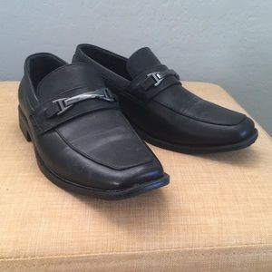 Boys black dress loafers with buckle